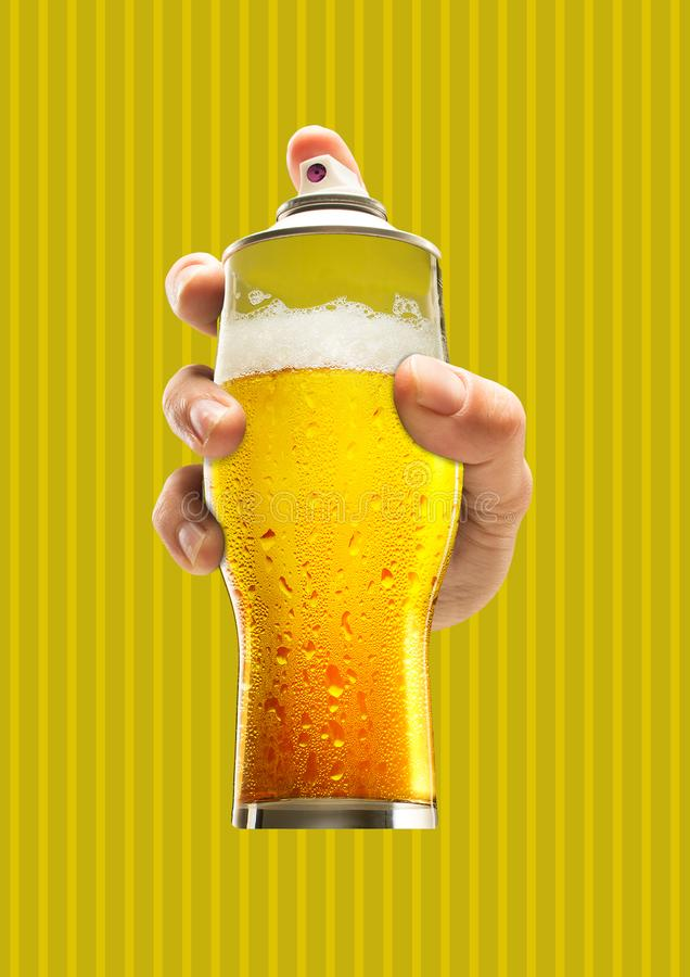 Street art. Modern design. Contemporary art collage. Street art. Male hand holding a glass of cold beer as a spray cannister against yellow-braun background stock photos