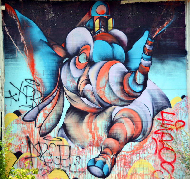 Street art Montreal elephant. royalty free stock photo