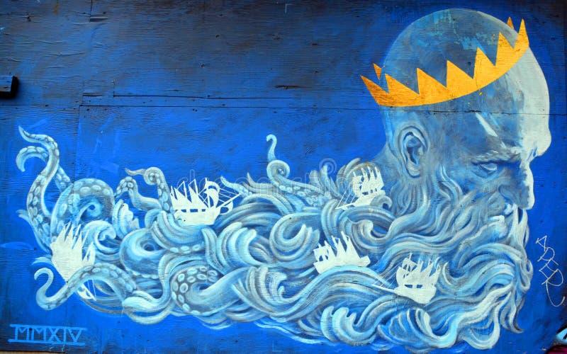 Street art Montreal god of sea royalty free stock image