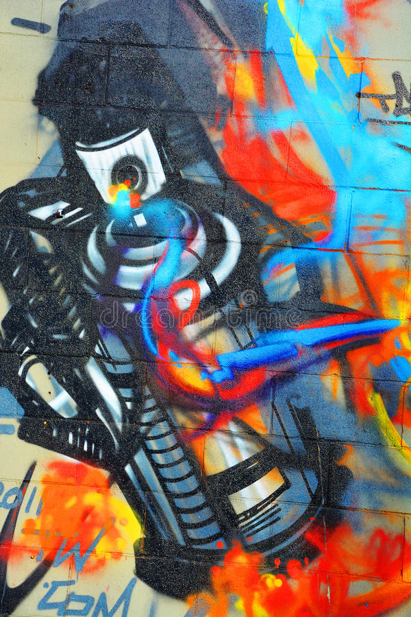 Street art Montreal paint spay can royalty free stock images