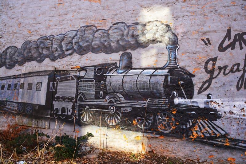 Street art Montreal train royalty free stock photo