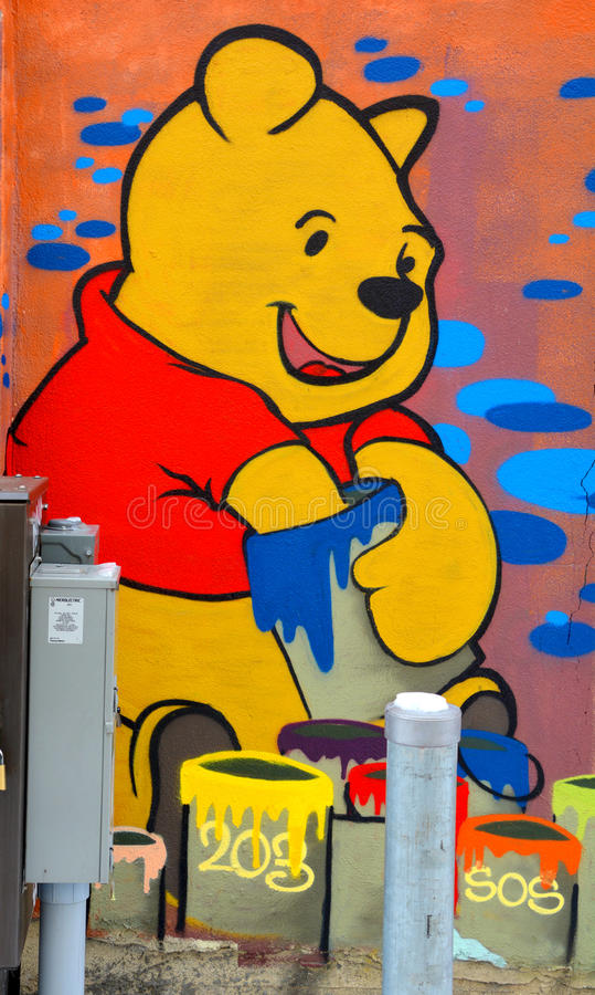 Street art Montreal Winnie the pooh stock photo