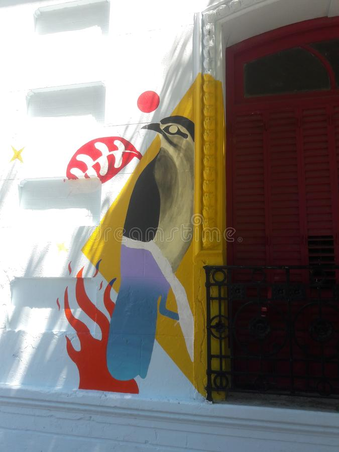 Street Art mural grafitti painting Buenos Aires Argentina. Artist, travel, tourism, soith, south, america royalty free stock photography