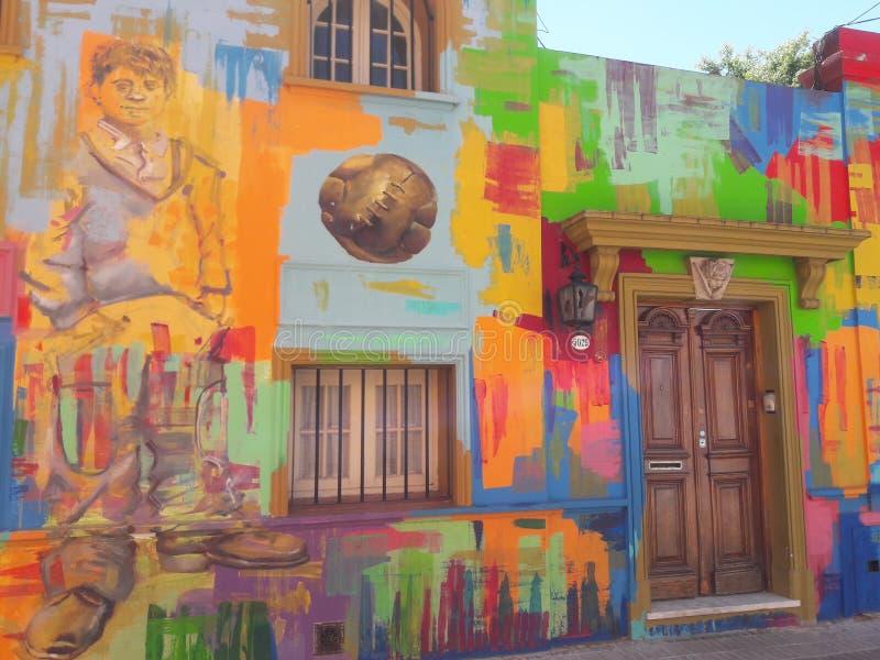Street Art Mural grafitti schilderij Buenos Aires Argentina stock foto's