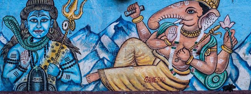 Street Art Mural of Hindu Gods in Varanasi, India stock photos