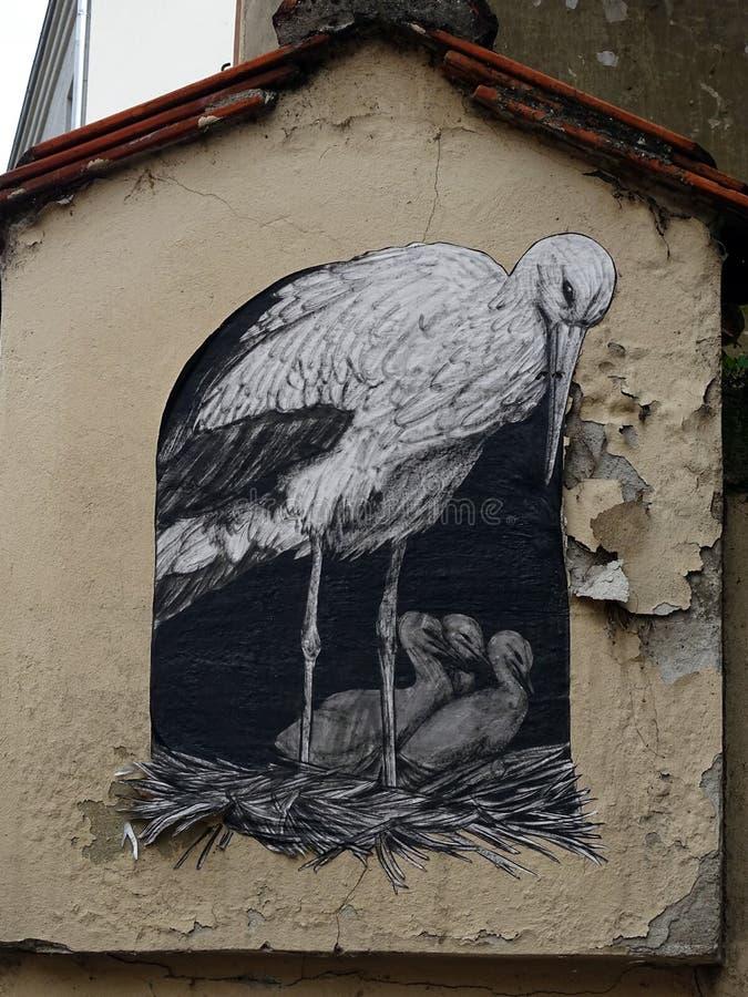 Street-art,murals, on the walls of Zagreb stock photos