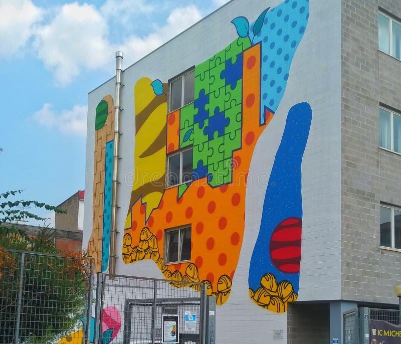 Street art in Naples, Italy. Colours, school, graffiti royalty free stock image