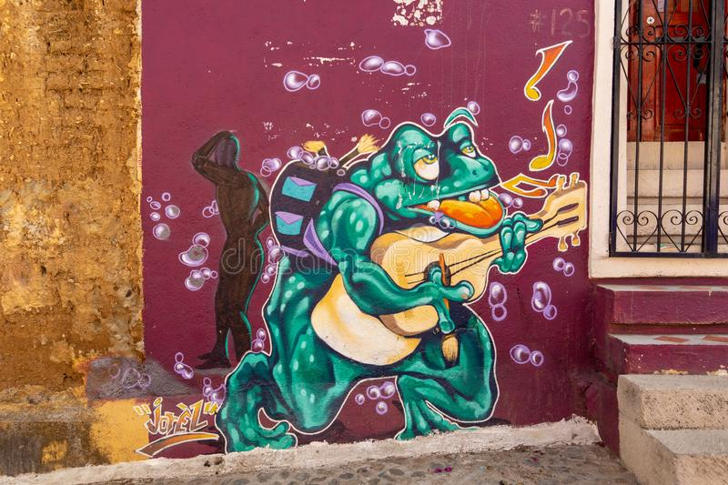 Street art in Oaxaca City, Mexico. Located in Mexico Central Valley, Oaxaca is famous for its modern art and crafts production stock photos