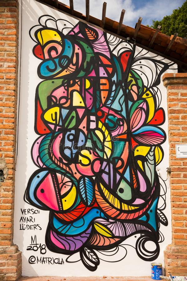 Outdoor Mural in San Pancho. Street Art painting in square of San Pancho, Nayarit, Mexico royalty free stock photos
