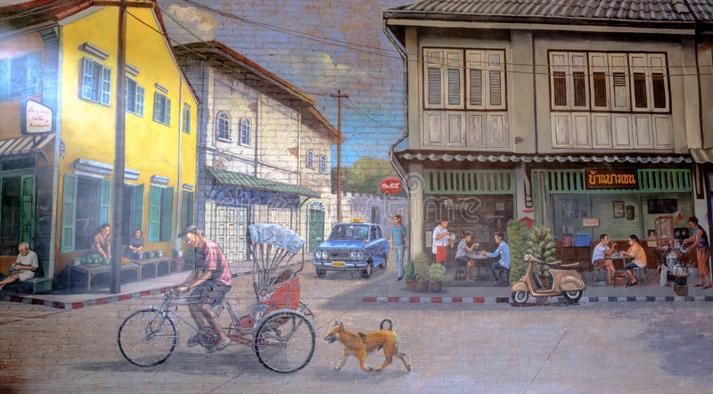 STREET ART Painting on the the wall happy rural thai lifestyle i stock photography