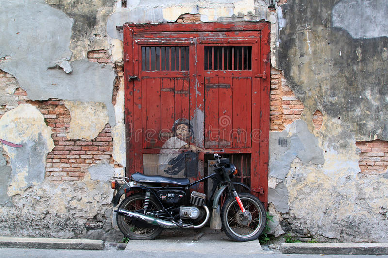 Street Art at Penang, Old Motorcycle stock images