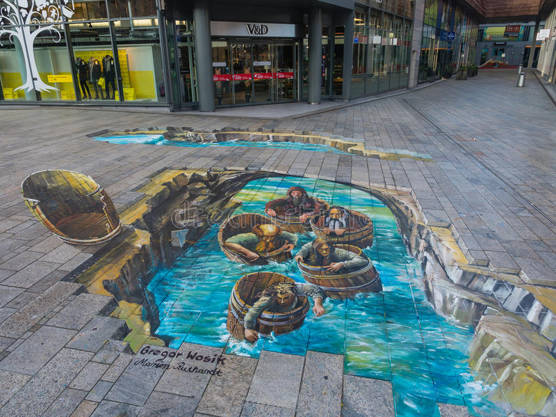 optical street illusion showing painting artist shows power almere editorial netherlands unknown oct once 3d