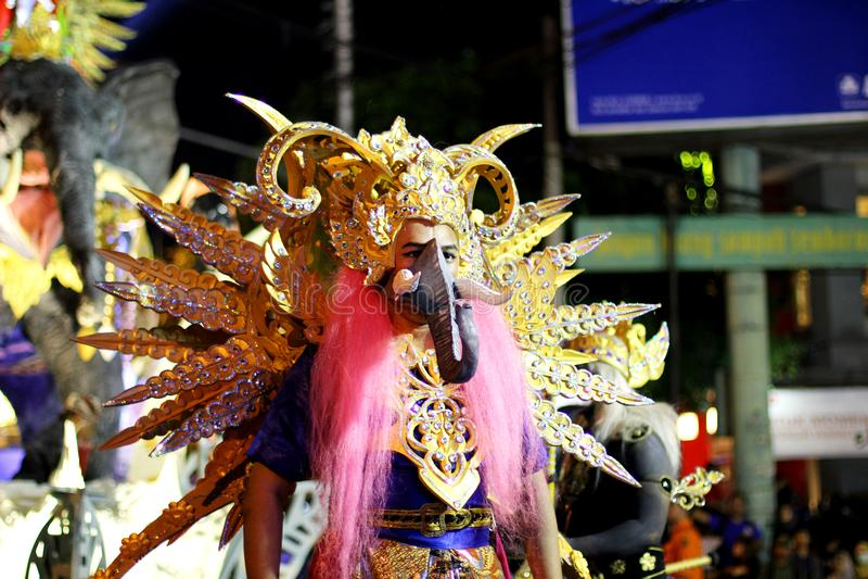 Street art traditional costume performance in Wayang Jogja Night Carnival 2017 stock photography