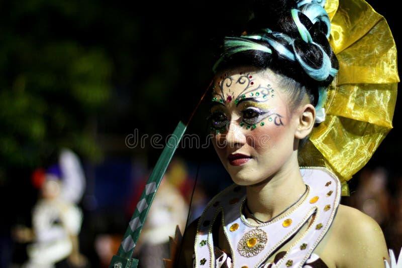 Street art traditional costume performance in Wayang Jogja Night Carnival 2017 stock image