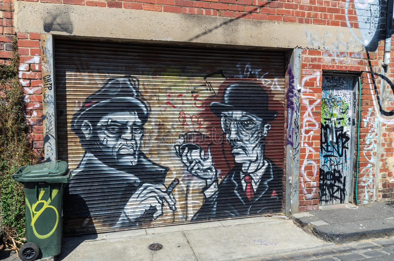 Street art by an unknown artist in Collingwood, Melbourne royalty free stock photos