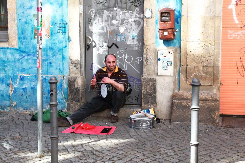Street artist with drums stock photography