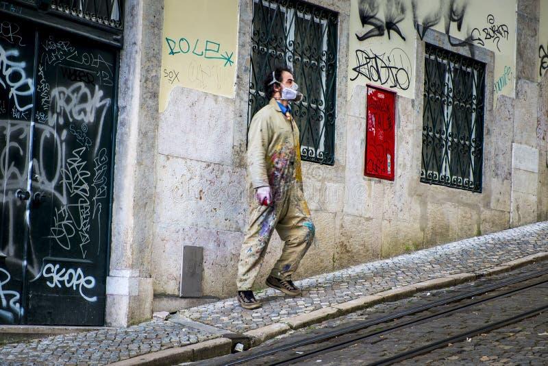 Street artist in Lisbon Portugal stock photography