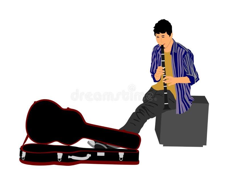 Street artist musician boy playing on the clarinet, vector illustration. Street music performer with flute, clarinet isolated. Street artist musician boy royalty free illustration
