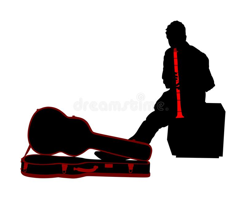 Street artist musician boy playing on the clarinet, vector silhouette. Street music performer with flute, clarinet isolated. Street artist musician boy playing stock illustration