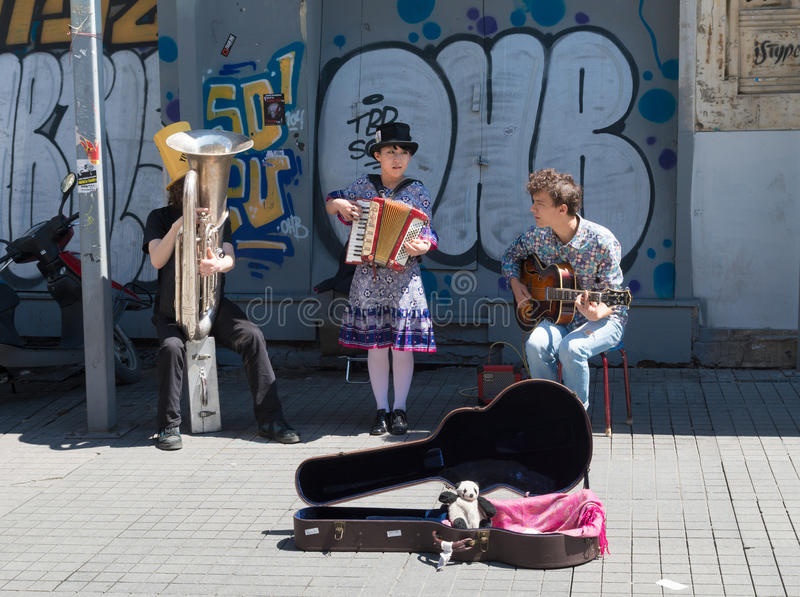 Street artists in Istanbul. Street singers on Istiklal (independance) avenue in Istanbul. It is one of the most famous avenues inthe city, visited by nearly 3 royalty free stock image