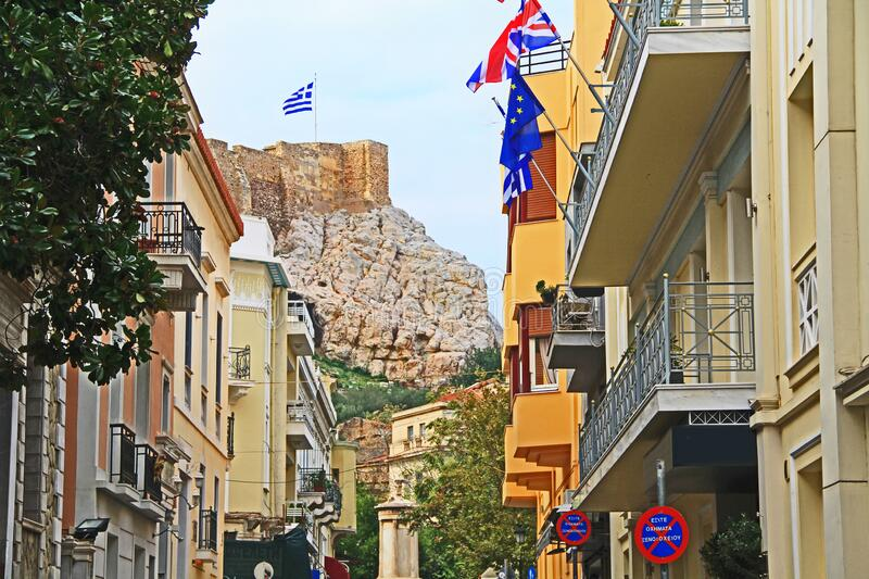 A Street in Athens, Greece with Acropolis Hill in the Background stock images