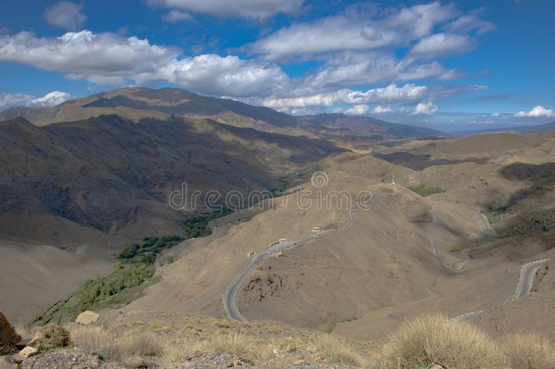 Street in Atlas Mountains, mountains chain in Morocco royalty free stock image