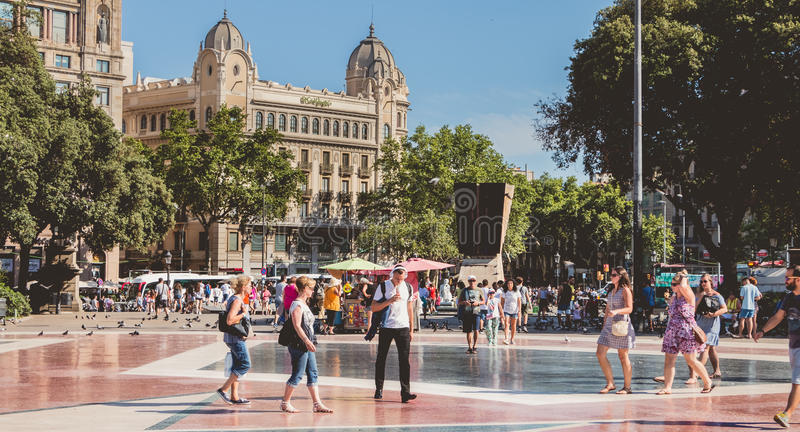 Street atmosphere on the famous Plaza Catalunya in Barcelona stock images