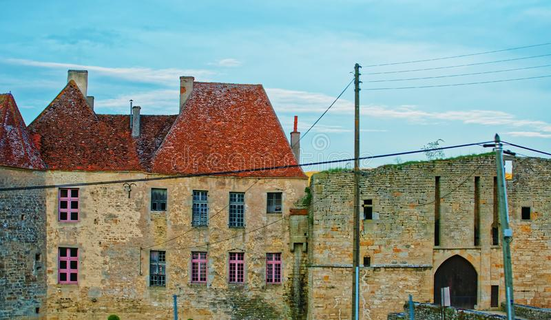 Street of Avallon in Bourgogne Franche Comte region in France. Old buildings in the street of Avallon of Yonne department in Bourgogne Franche Comte region royalty free stock image