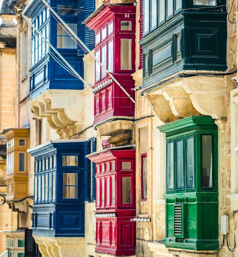 Street With Balconies In Valletta Stock Photo