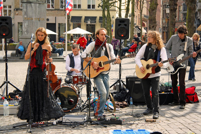 Download Street Band In Bruges (Belgium) Editorial Stock Photo - Image: 24244108