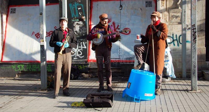 Street band in Istanbul. ISTANBUL, TURKEY - JAN 9, 2013 - Street band on Ä°stiklal Avenue in Istanbul royalty free stock photos