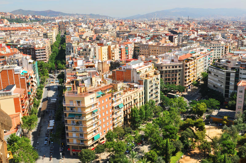 Street in Barcelona. Barcelona, Spain - 07 July, 2012: Aerial view of street in the Eixample district of Barcelona royalty free stock photos