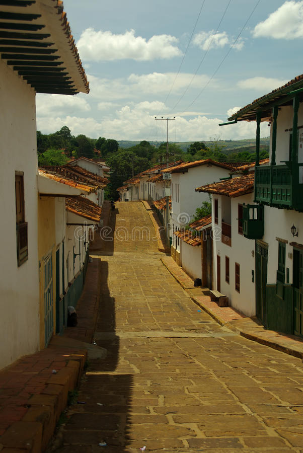 Street of Barichara in Colombia stock photos