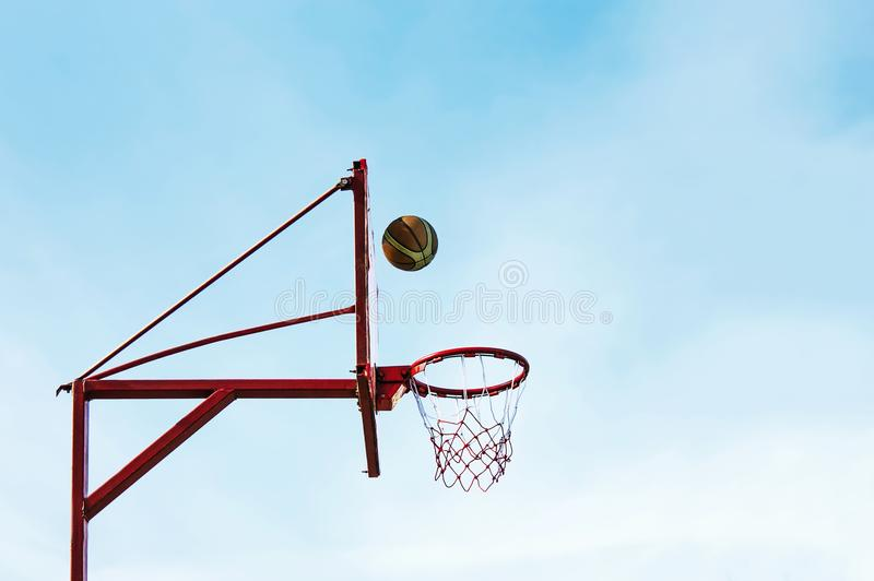 Street basketball ball ring board against the sky. Street basketball ball ring board against the sky stock images