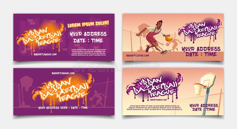 Street basketball league tournament flyer vector stock illustration
