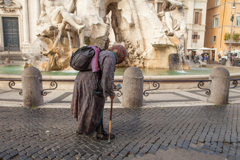 Street beggar. In Piazza Navona, Rome, Italy stock images