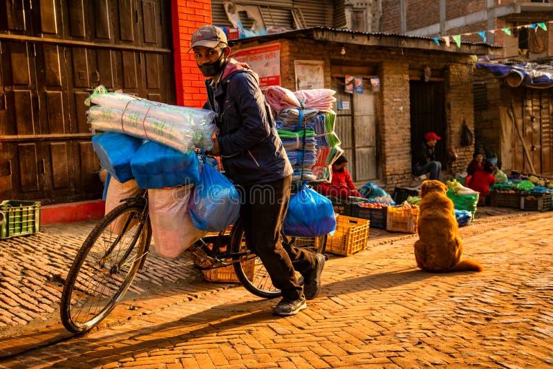 Morning Street in Bhaktapur, Nepal royalty free stock photography