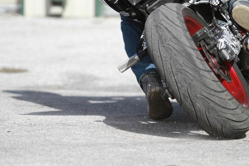 Street Bike Tire. Close up shot of a street bike tire royalty free stock photo