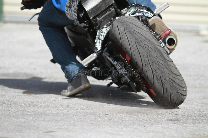 Street Bike Tire. Close up shot of a street bike tire stock photo