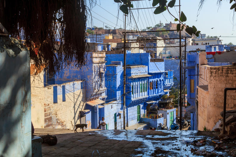 Street in the Blue CIty. Jodhpur, India 16th January 2017 - A street in the blue city of Jodhpur, India royalty free stock images
