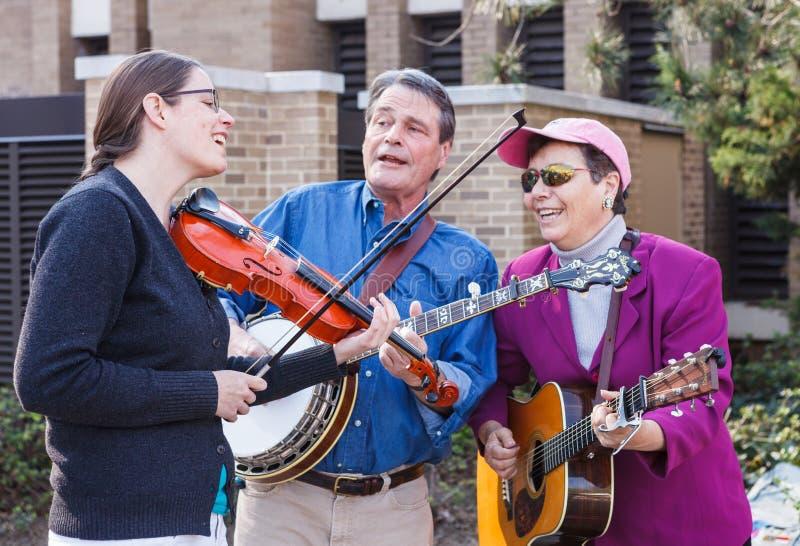 Street Bluegrass Performers赖斯顿弗吉尼亚国王 免版税库存照片