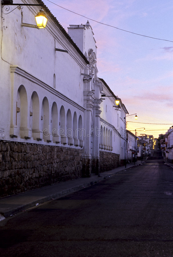 Street- Bolivia. Colonial architecture & street in the mining city of Sucre, Bolivia royalty free stock photos