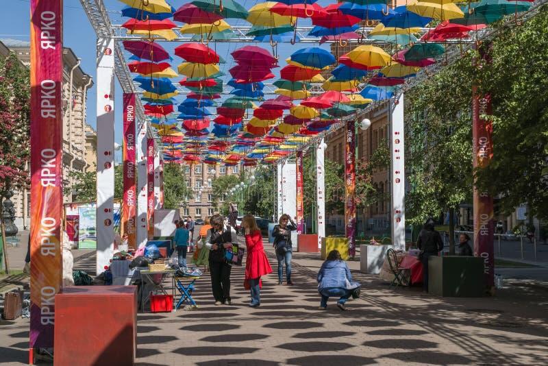 Street bright umbrellas stock photos