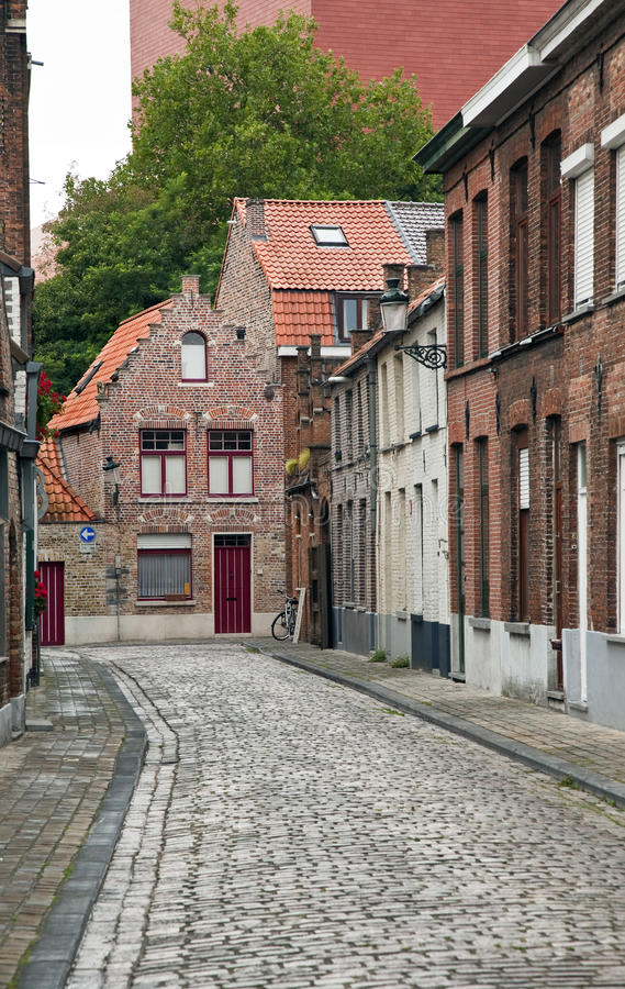 Street at Brugge. An empty street at Brugge stock photography