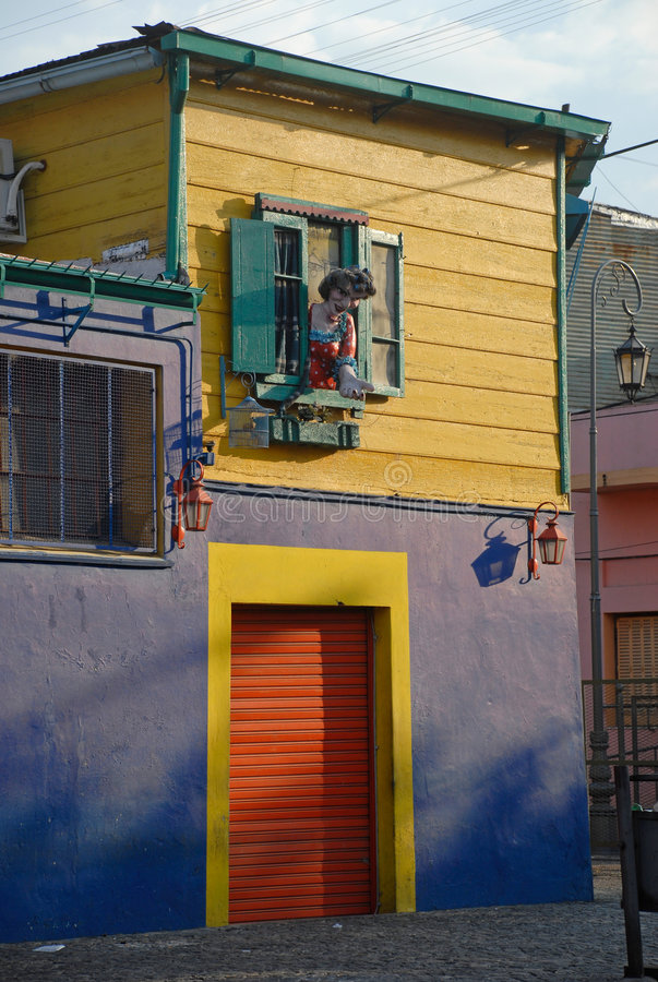 Street in Buenos Aires, Argentina. A wooden window and shutters set in the the famous La Boca district in Buenos Aires, Argentina stock image