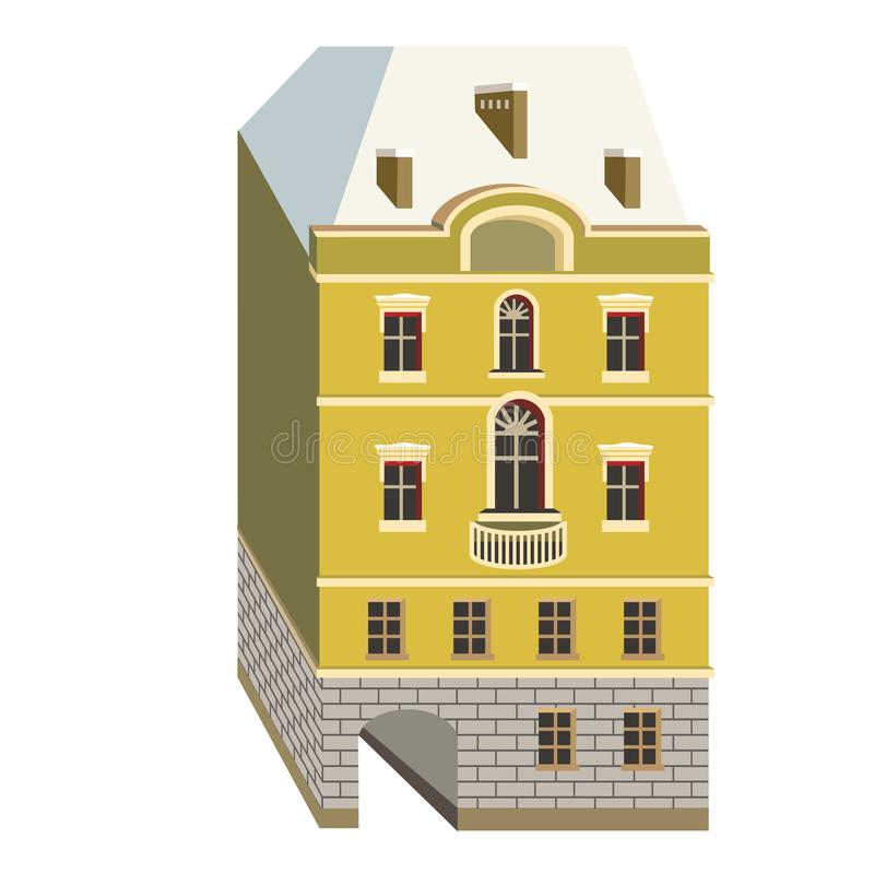On the street of the building. Miniature houses in the style of classicism. Vector illustration with beautiful buildings of Saint-Petersburg city stock illustration