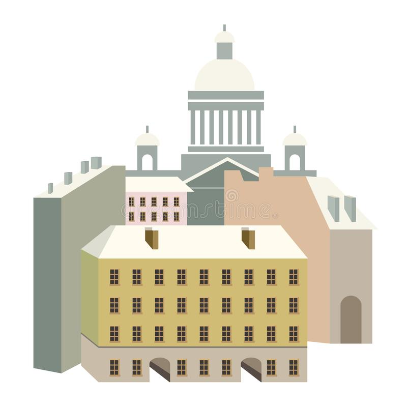 On the street of the building. Miniature houses in the style of classicism. Vector illustration with beautiful buildings of Saint-Petersburg city. Isaac`s Palace stock illustration