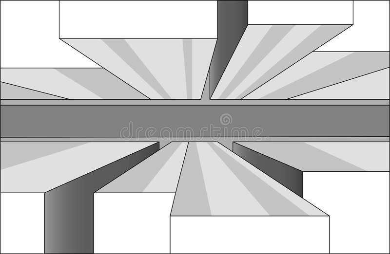 Street and buildings. A vector outline stroke image of a street and buildings stock illustration