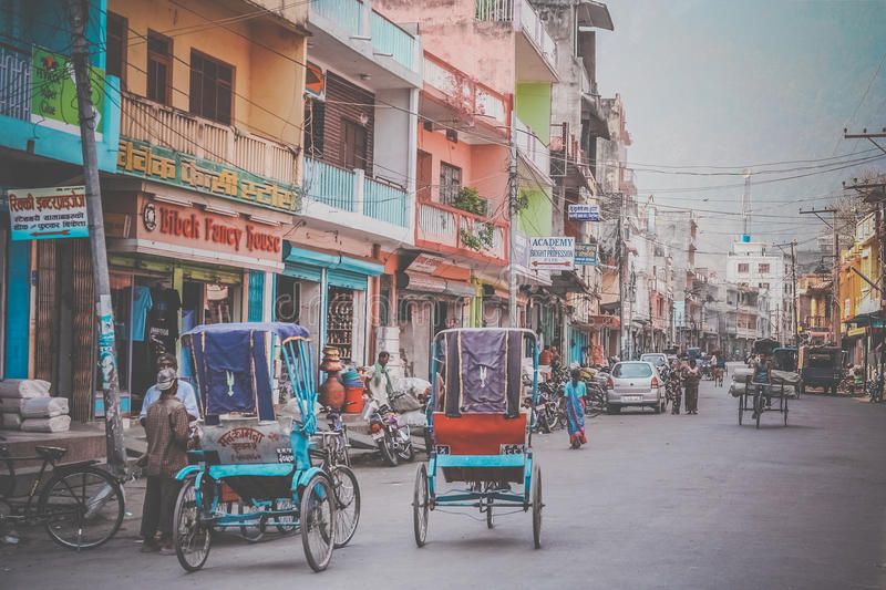 Street in Butwal. Rrickshaws on the street in the Nepali town Butwal stock photography