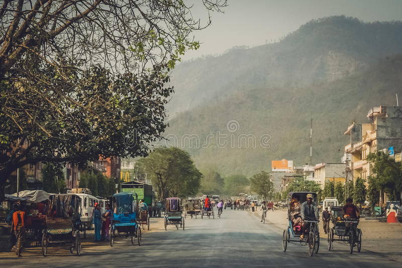 Street in Butwal. Rrickshaws on the street in the Nepali town Butwal royalty free stock photo
